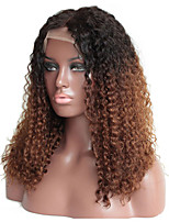 cheap -Women Human Hair Lace Wig Malaysian Human Hair 360 Frontal 150% Density Kinky Curly Wig Black/Medium Auburn Short Medium Length Long