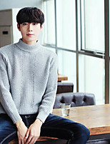 Men's Others Casual Regular Pullover,Solid Stand Long Sleeves Polyester Autumn Medium Micro-elastic