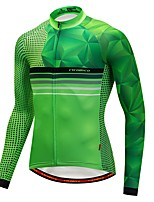 Cycling Jersey with Tights Men's Long Sleeve Bike Jersey Fleece Bike Wear Thermal / Warm Winter Sports Stripe Fashion Cycling / Bike Green