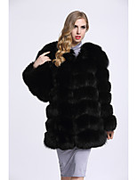 Women's Going out Simple Casual Winter Fur Coat,Solid Long Sleeves Regular Fox Fur
