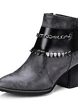 abordables -Mujer Zapatos PU Invierno Otoño Confort Botas Tacón Cuadrado Dedo Puntiagudo Para Negro Gris
