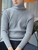 Men's Casual/Daily Simple Short Pullover,Solid Turtleneck Long Sleeve Cotton Acrylic Winter Fall/Autumn Thick Micro-elastic