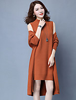 Women's Daily Casual Autumn/Fall Set Dress Suits,Solid High Neck Long Sleeves Cotton