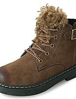Недорогие -Для женщин Обувь Резина Зима Армейские ботинки Ботинки Круглый носок Назначение Черный Хаки