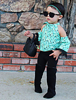 cheap -Girls' Floral Clothing Set,Cotton Spring Summer Long Sleeve Cute Active Street chic Black