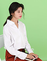 Women's Wedding Party Sophisticated All Seasons Shirt,Solid V Neck Long Sleeves Polyester Thin