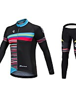 Cycling Jersey with Tights Unisex Long Sleeves Bike Jersey Bottoms Reflective Strip Fast Dry Quick Dry Anatomic Design Low-friction 100%