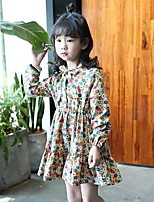 Girl's Floral Dress,Cotton Rayon Spring Fall Long Sleeves Vintage Casual Khaki