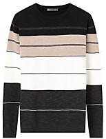 Men's Daily Casual Regular Pullover,Striped Round Neck Long Sleeves Polyester Winter Fall Thick Micro-elastic