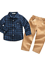 cheap -Boys' Plaid Clothing Set,Cotton Polyester Fall Long Sleeve Casual Navy Blue