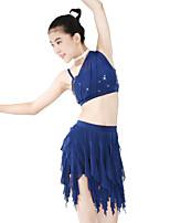 Balletto Completi Per donna Per bambini Esibizione Elastene Elastico Maglia Con strass Ondulato Paillettes Senza maniche Naturale Gonne