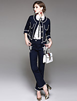 Women's Daily Going out Street chic Winter Fall Set Pant Suits,Solid Stars Round Neck Half Sleeves Tassel Stripe 100% Polyester >75%