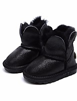 cheap -Boys' Shoes Real Leather Winter Fur Lining Boots Mid-Calf Boots for Casual Black Pink