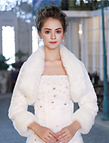 3/4 Length Sleeves Faux Fur Wedding Party / Evening Women's Wrap With Feather/ Fur Patterned Shrugs