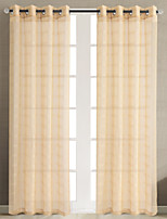 Rod Pocket Grommet Top Tab Top Double Pleat Pencil Pleat Curtain Country Modern , Jacquard Lattice Living Room Polyester Material Sheer
