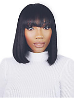 Women Synthetic Wig Capless Medium Length Black Straight BoBo Hair With Bangs Costume Wig