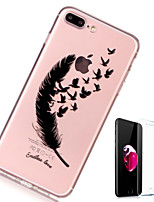 baratos -Capinha Para Apple iPhone X / iPhone 8 Plus Transparente / Estampada Capa traseira Penas Macia TPU para iPhone X / iPhone 8 Plus / iPhone 8