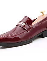 Men's Shoes Cowhide Spring Fall Comfort Loafers & Slip-Ons For Casual Wine Black White