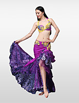 Belly Dance Outfits Women's Performance Cotton Polyester Pleated Crystals/Rhinestones Skirts Bra