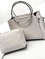 cheap -Women Bags PU Bag Set 2 Pieces Purse Set Zipper for Casual All Season Black Blushing Pink Gray Light Gray