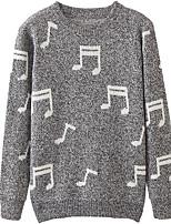 Men's Daily Regular Cardigan,Print Round Neck Long Sleeves Cotton Medium Micro-elastic