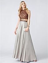 Princess Two Piece High Neck Sweep / Brush Train Chiffon Formal Evening Dress with Beading Crystal Detailing by TS Couture®