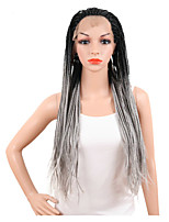 cheap -Women Synthetic Wig Lace Front Long Straight Grey African American Wig Braided Wig Plait Hair Ombre Hair Party Wig Cosplay Wig Natural