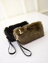 Women Bags All Season PU Polyester Clutch Feathers / Fur for Casual Black Blushing Pink Gray Fuchsia Brown