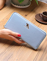 Women Bags PU Wallet Zipper for Outdoor All Season Blue Black Blushing Pink Wine