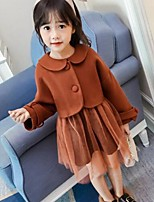 Girls' Solid Sets,Cotton Rayon Polyester Fall Winter Long Sleeves Clothing Set
