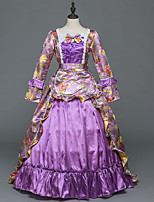 Victorian Rococo Female Adults' Party Costume Masquerade Light Purple Cosplay Stretch Satin Satin Long Sleeves Floor Length