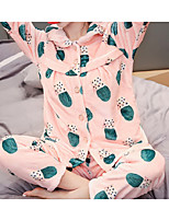 Costumes Pyjamas Femme,Plantes Coton Polyester Rose Claire