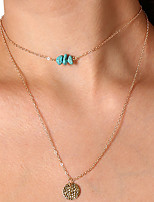 Women's Choker Necklaces Pendant Necklaces Turquoise Circle Copper Vintage Casual Jewelry For Daily Festival