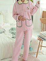 Costumes Pyjamas Femme,Couleur unie Coton Polyester Rose Claire Lavande