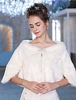 Half Sleeves Faux Fur Wedding Party / Evening Women's Wrap With Crystal Brooch Shrugs