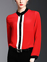Women's Daily Going out Sexy Shirt,Color Block Shirt Collar Long Sleeves Polyester Thin