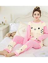 Costumes Pyjamas Femme,Imprimé Motif Animal Polyester Rose Claire