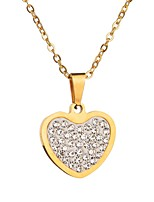 cheap -Women's Heart Heart Choker Necklace Rhinestone Stainless Choker Necklace , Valentine