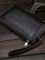 Men Bags PU Wallet Zipper for Casual All Season Black Brown Dark Brown Khaki