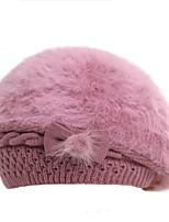 Для женщин На каждый день Вязаная шапочка,Зима Кроличий мех Цветочный Бант