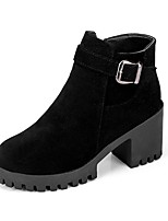 cheap -Women's Shoes PU Winter Comfort Boots Chunky Heel Round Toe For Casual Green Brown Black