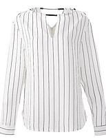 cheap -Women's Going out Vintage Fall/Autumn Blouse,Striped Round Neck Long Sleeves Polyester Opaque