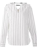 economico -Blusa Da donna Per uscire Vintage Autunno,A strisce Rotonda Poliestere Manica lunga Opaco