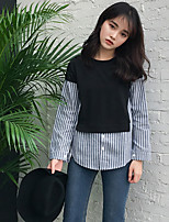 cheap -Women's Daily Street chic Shirt,Striped Color Block Round Neck Long Sleeves Cotton