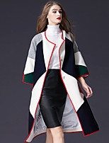 cheap -FRMZ Women's Party Daily Simple Cute Casual Active Sophisticated Winter Coat,Color Block Round Neck 3/4 Length Sleeves Long Wool Polyester