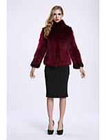 BF-Fur Style Women's Going out Casual/Daily Simple Street chic Winter Fur Coat,Solid V Neck Long Sleeves Short Faux Fur