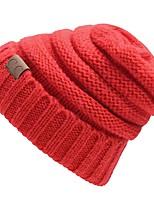 Унисекс На каждый день Вязаная шапочка,Зима Романский трикотаж Цветочный Плиссировка Стильные