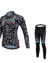 Cycling Jersey with Tights Unisex Long Sleeves Bike Tights Jersey Bathroom Sink Reflective Strip Fast Dry Quick Dry Anatomic Design