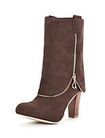 preiswerte -Damen Schuhe Kunstleder Winter Modische Stiefel Stiefel Runde Zehe Mittelhohe Stiefel Für Kleid Schwarz Grau Braun Rot