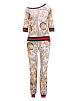 Women's Daily Going out Sexy Street chic Spring/Fall T-shirt Pant Suits,Print Color Block One Shoulder Long Sleeves Sexy Holiday Polyester